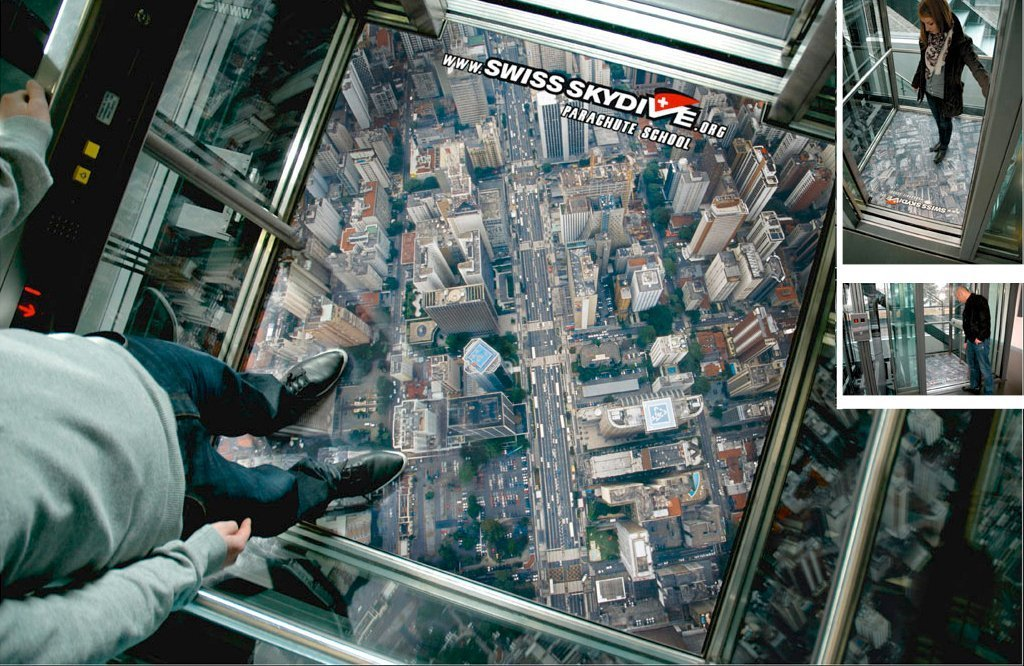Swiss Skydive Elevator Top 27 Creative Elevator Advertisements