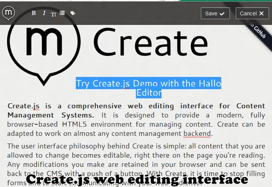 Create.js - On-site web editing interface